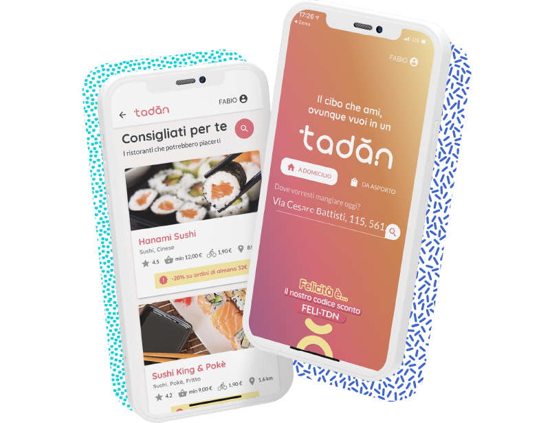 Two mockup of phones showing on screens two screenshot of the delivery app Tadan